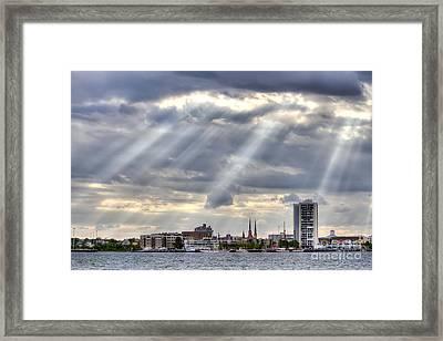 Charleston Maritime Center Sun Rays Framed Print