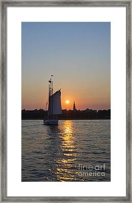 Charleston Schooner Sunset Framed Print by Dustin K Ryan