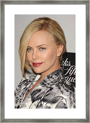 Charlize Theron At In-store Appearance Framed Print