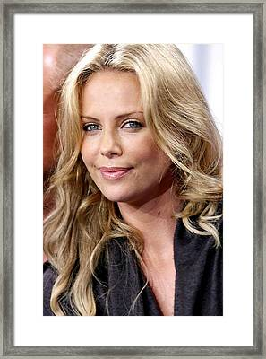 Charlize Theron At The Press Conference Framed Print
