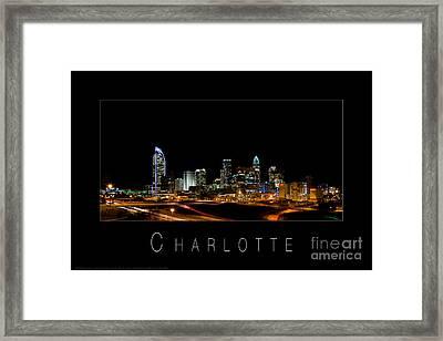 Charlotte Skyline At Night Framed Print