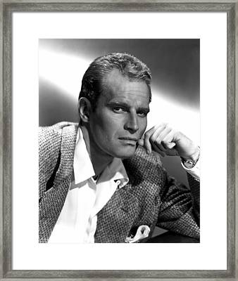 Charlton Heston, 1950s Framed Print by Everett