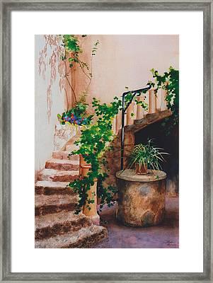 Charming California Courtyard Framed Print by Eve Riser Roberts
