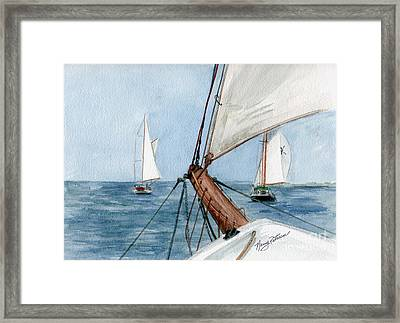 Framed Print featuring the painting Chasing The North Wind by Nancy Patterson