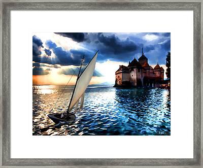 Chateau De Chillon On Lake Geneva Framed Print