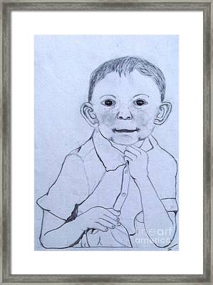 Framed Print featuring the drawing Cheerful Smile by Ayasha Loya