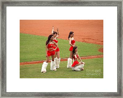 Cheerleaders Pose For The Fans In Taiwan Framed Print