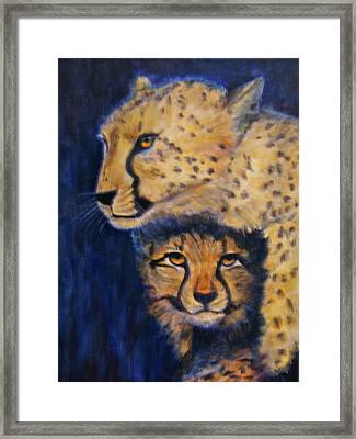 Cheetah Mother And Child Framed Print