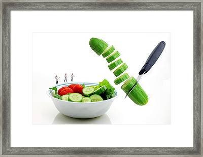 Chefs Making Salad Framed Print