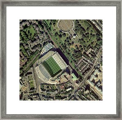 Chelsea's Stamford Bridge Stadium, Aerial Framed Print by Getmapping Plc