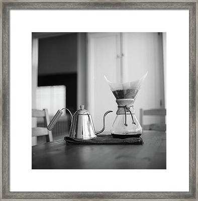 Chemex And Kettle Framed Print by Copyright Ricky G. Brown 2011