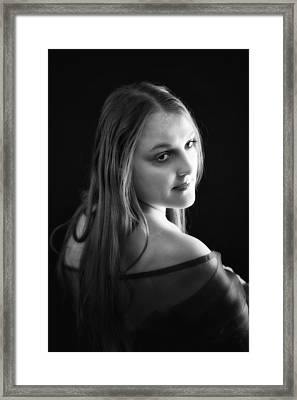 Cheree In Black And White Framed Print by Ronel Broderick