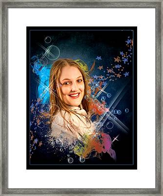 Cheree In Bubbles Framed Print by Ronel Broderick
