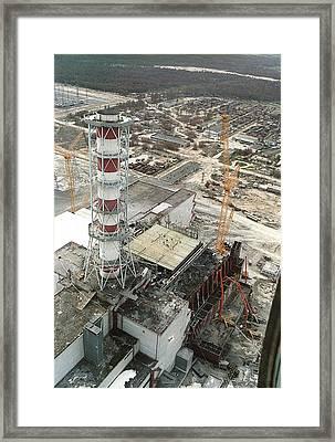 Chernobyl Reactor Clear-up Framed Print by Ria Novosti