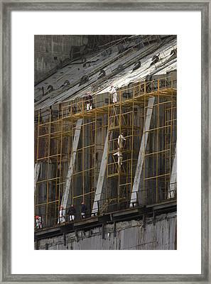Chernobyl Sarcophagus Repairs, 2006 Framed Print by Ria Novosti