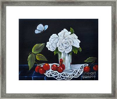 Framed Print featuring the painting Cherries And Roses by Carol Sweetwood