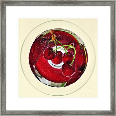Cherries In A Wine Glass Framed Print by Kaye Menner