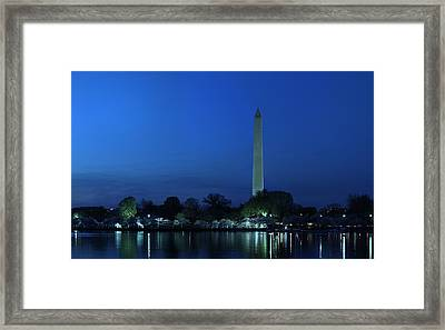 Cherry Blossoms Sunset At The Washington Monument Framed Print