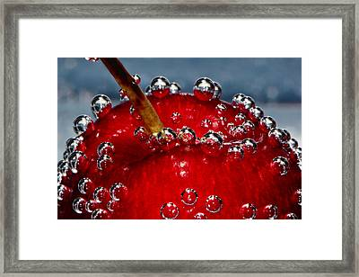 Cherry Bubbles Under Water Framed Print by Tracie Kaska