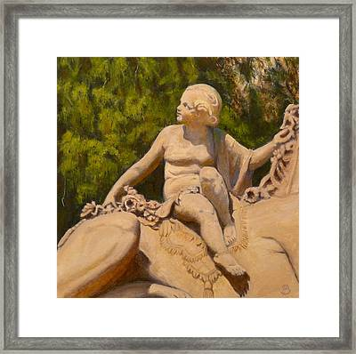 Framed Print featuring the painting Cherub Monmouth University by Joe Bergholm