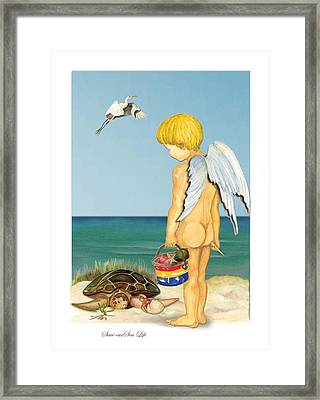 Framed Print featuring the painting Cherub Saving Turtle by Anne Beverley-Stamps