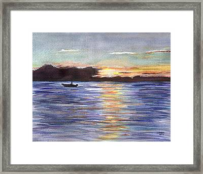 Framed Print featuring the painting Chesapeake Dusk Boat Ride by Clara Sue Beym
