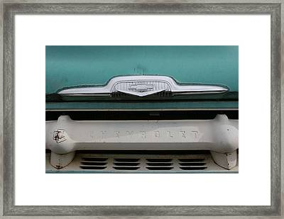 Chevy Blue Framed Print by Ken Riddle