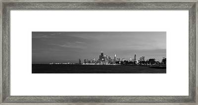 Chicago At Dusk In Black And White Framed Print by Twenty Two North Photography