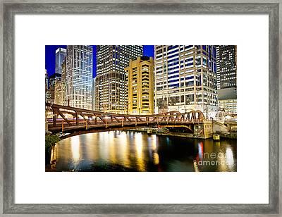 Chicago At Night At Clark Street Bridge Framed Print