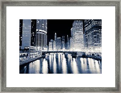 Chicago At Night At Dearborn Street Bridge Framed Print by Paul Velgos