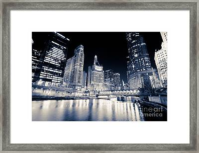 Chicago At Night At Michigan Avenue Bridge Framed Print by Paul Velgos