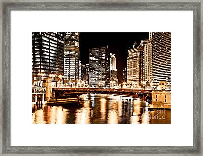 Chicago At Night At State Street Bridge Framed Print