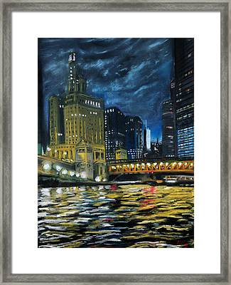 Chicago At Night Framed Print by Peter Jackson