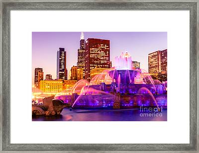 Chicago At Night With Buckingham Fountain Framed Print by Paul Velgos
