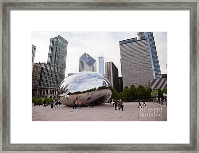 Chicago Bean Cloud Gate Sculpture At Millenium Park Framed Print by Paul Velgos