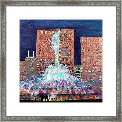 Chicago Buckingham Fountain At Night Framed Print by Char Swift