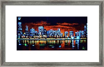 Chicago By Black Light Framed Print
