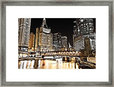Chicago City At Night Framed Print by Paul Velgos
