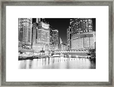 Chicago Cityscape At Night At Dusable Bridge Framed Print by Paul Velgos