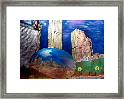Chicago Cloud Gate At Millennium Park Framed Print by Char Swift