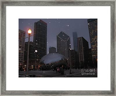 Chicago Cloud Gate At Night Framed Print by Ausra Huntington nee Paulauskaite