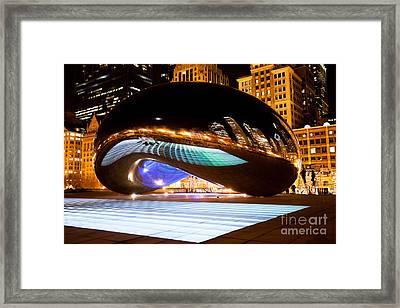 Chicago Cloud Gate Luminous Field Framed Print by Paul Velgos