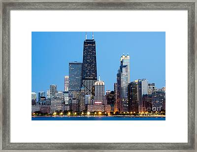 Chicago Downtown At Night With John Hancock Building Framed Print
