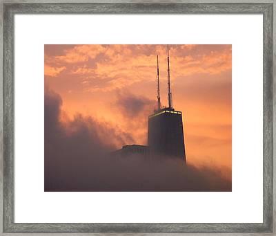 Chicago Dusk Framed Print by Valentino Visentini