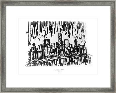 Framed Print featuring the painting Chicago Great Fire Of 1871 Serigraph Of Skyline Buildings Sears Tower Lake Michigan Hancock Bw by M Zimmerman