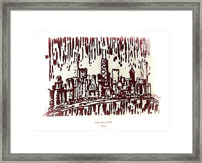 Framed Print featuring the painting Chicago Great Fire Of 1871 Serigraph Of Skyline Buildings Sears Tower Lake Michigan John Hancock  by M Zimmerman