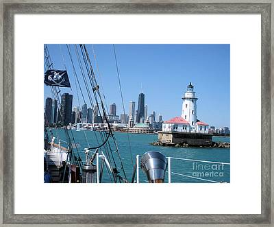 Chicago Harbor Lighthouse Framed Print by Sonia Flores Ruiz