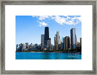 Chicago Lakefront With John Hancock Building Framed Print by Paul Velgos