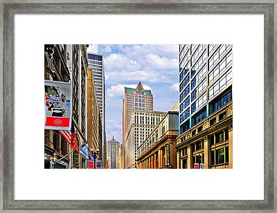 Chicago - Looking South From Lasalle Street Framed Print by Christine Till