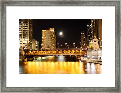 Chicago Michigan Avenue Dusable Bridge At Night Framed Print by Paul Velgos